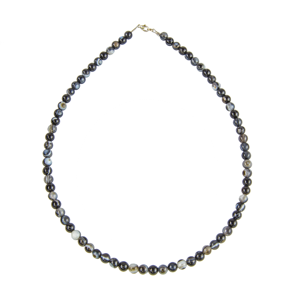 collier agate zonée noire pierres boules 6mm