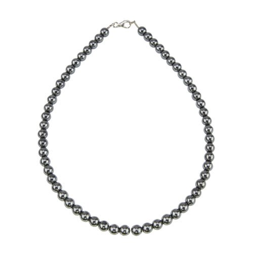 collier hematite pierres boules 8mm