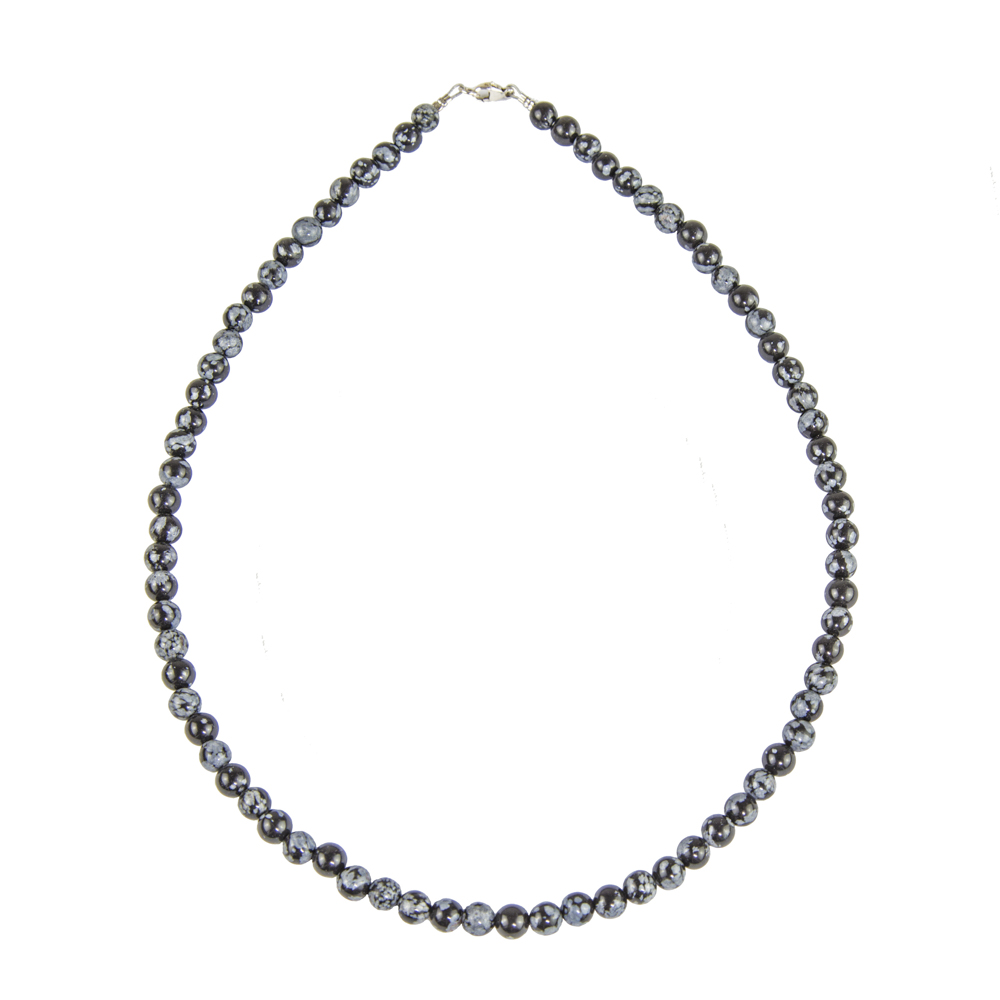 collier obsidienne flocon de neige pierres boules 6mm