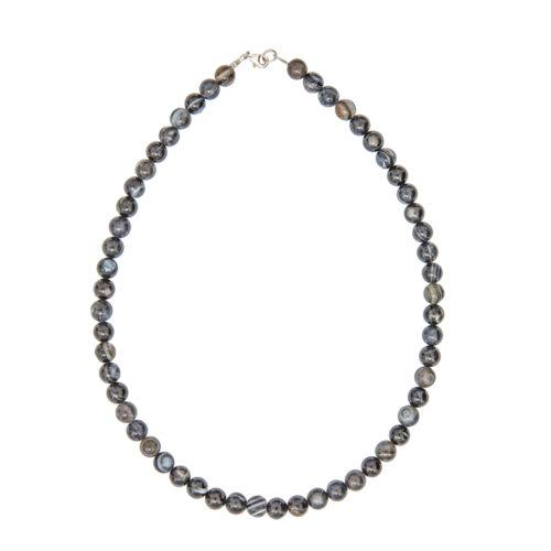 collier agate zonée noire pierres boules 8mm
