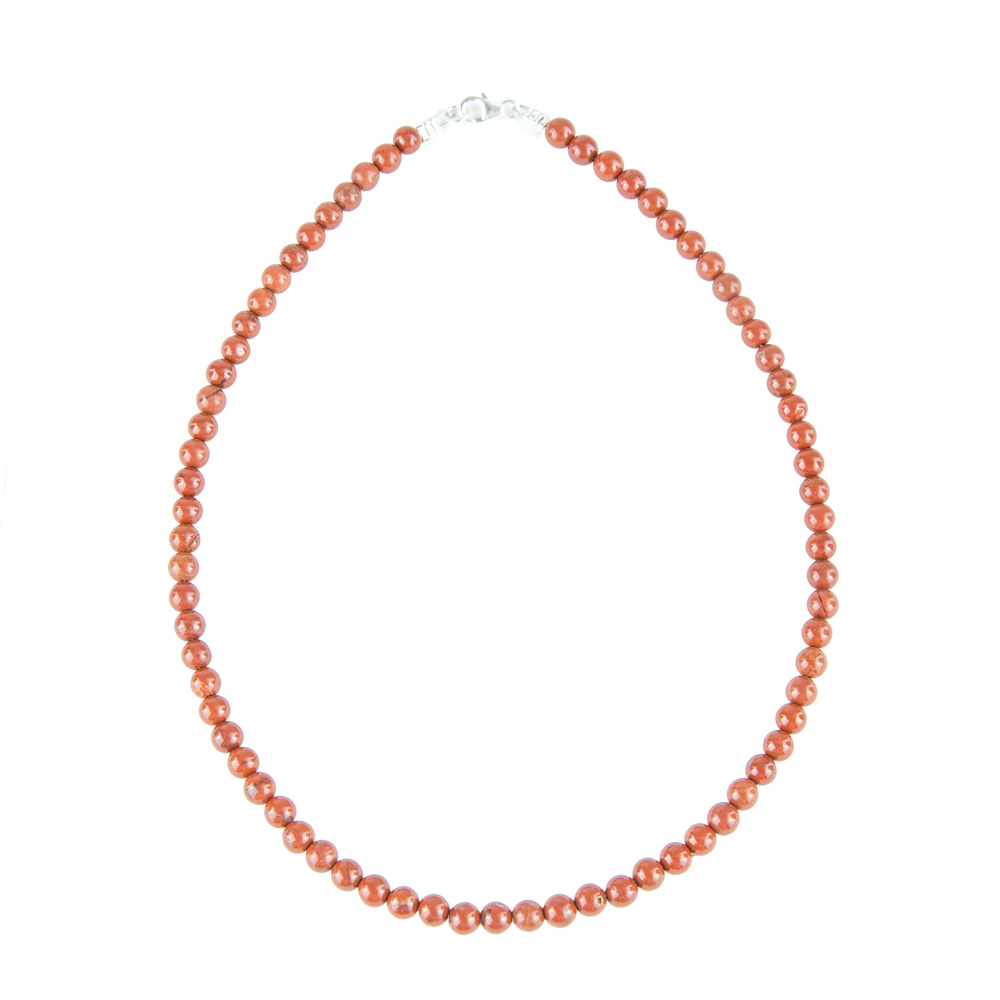 collier jaspe rouge pierres boules 6mm