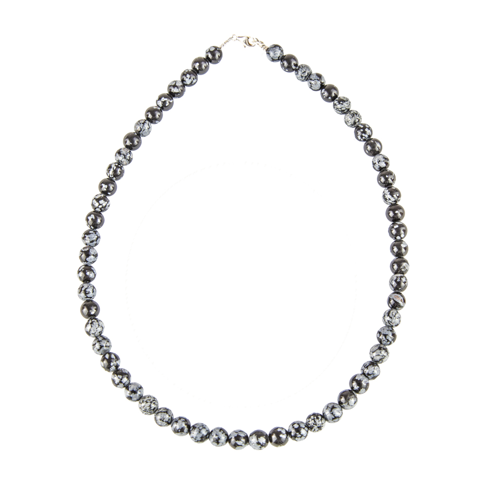 collier obsidienne flocon de neige pierres boules 8mm
