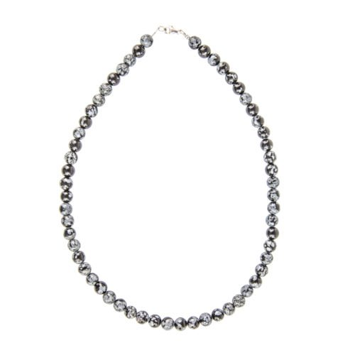 collier obsidienne flocon de neige pierres boules 8mm