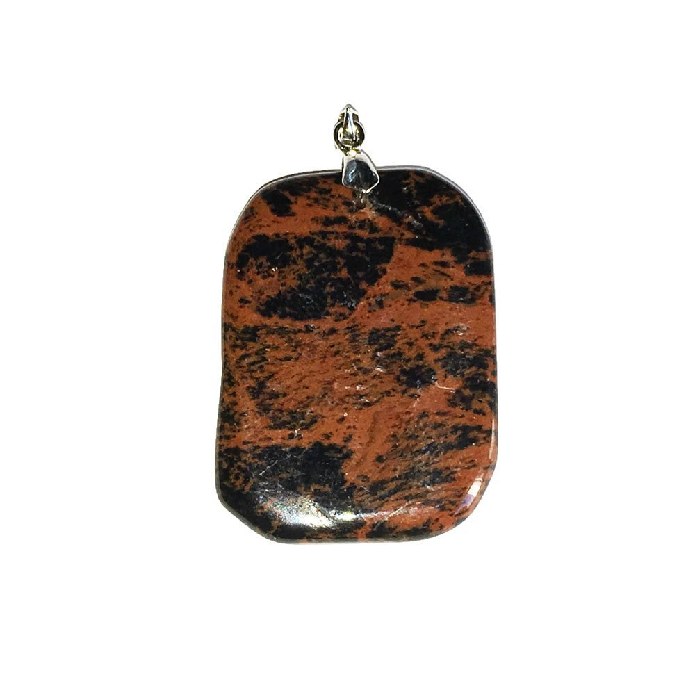 pendentif obsidienne acajou pierre plate