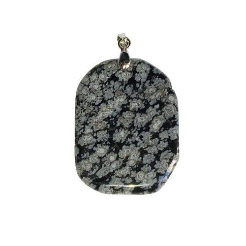 pendentif obsidienne flocon de neige pierre plate