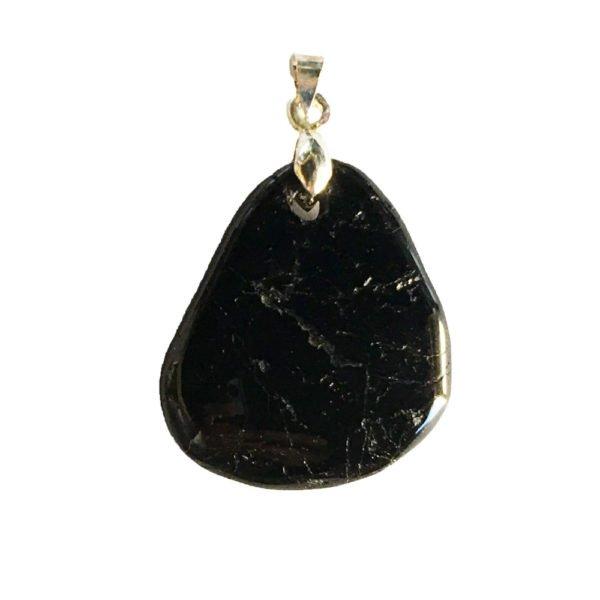 pendentif tourmaline noire pierre plate