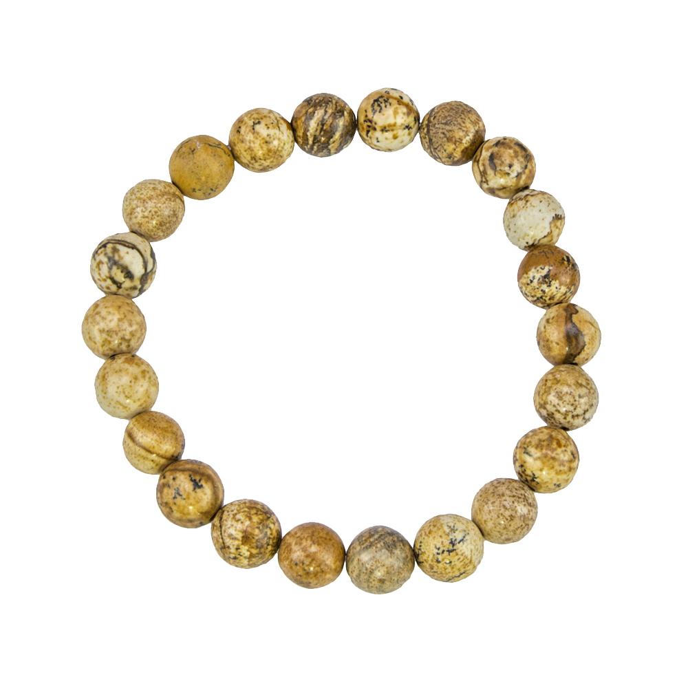 bracelet jaspe paysage pierres boules 8mm
