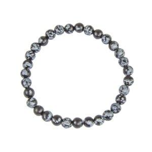 bracelet obsidienne flocon de neige pierres boules 6mm