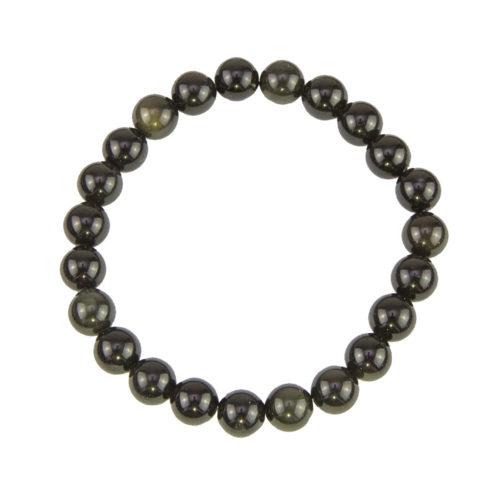 bracelet obsidienne noire pierres boules 8mm