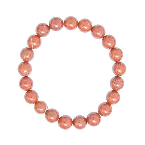 bracelet jaspe rouge pierres boules 8mm