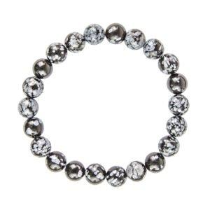 bracelet obsidienne flocon de neige pierres boules 8mm