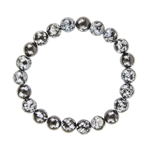bracelet obsidienne flocon de neige pierres boules 8mm