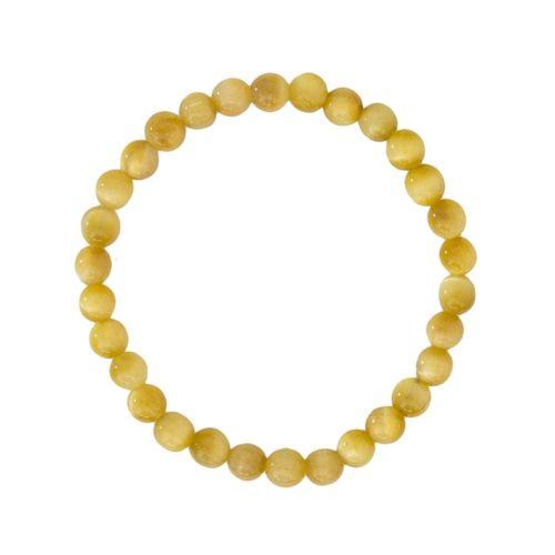 bracelet oeil de tigre doré pierres boules 6mm