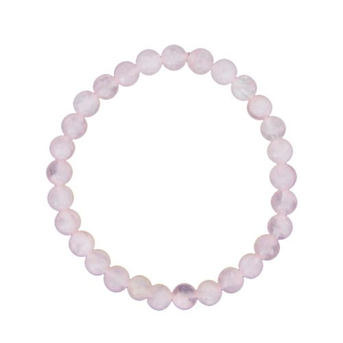 bracelet quartz rose pierres boules 6mm