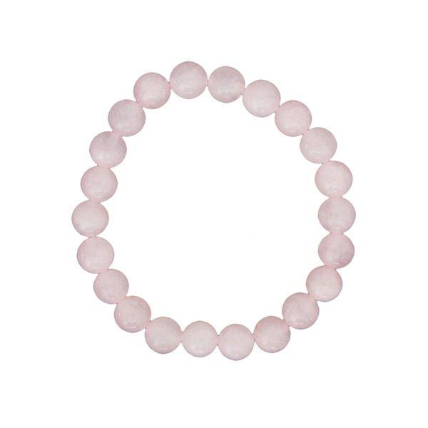 bracelet quartz rose pierres boules 8mm