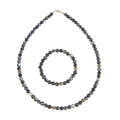 coffret agate zonée noire pierres boules 6mm