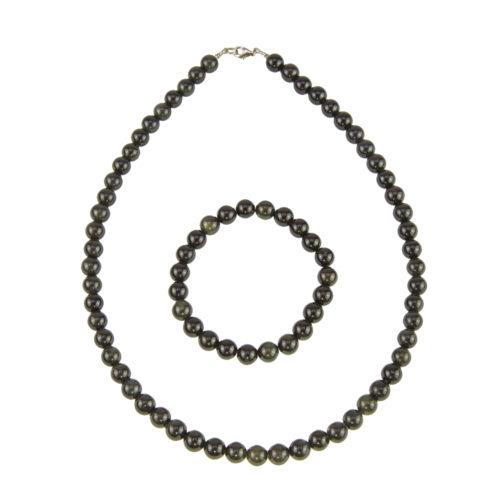 coffret obsidienne noire pierres boules 8mm