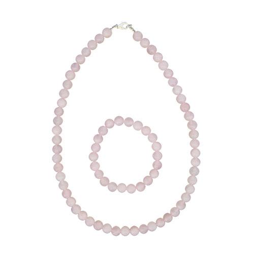 coffret quartz rose pierres boules 8mm