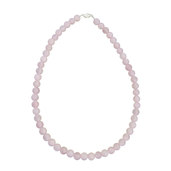 collier quartz rose pierres boules 8mm