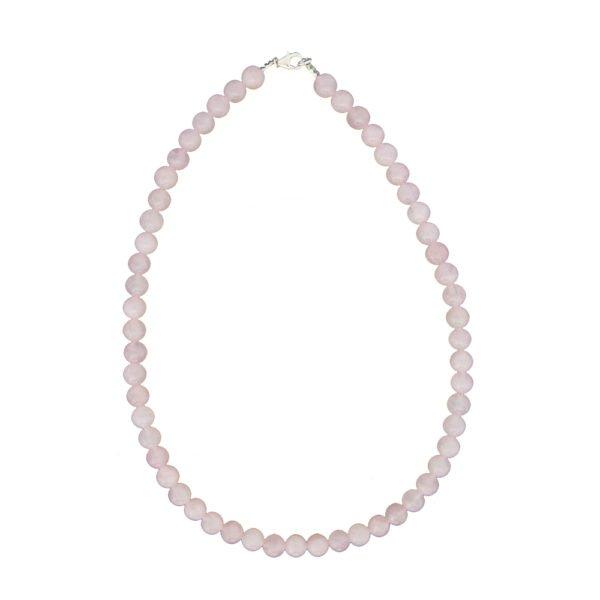 collier quartz rose pierres boules 8mm