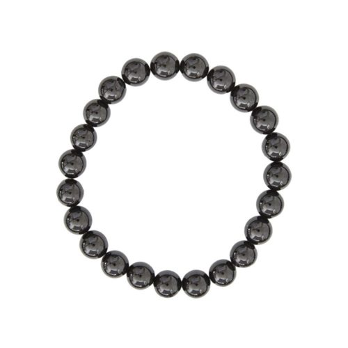 bracelet agate noire pierres boules 8mm