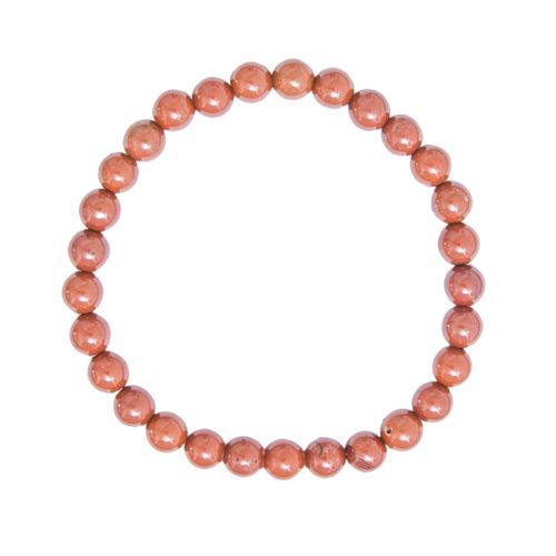 bracelet jaspe rouge pierres boules 6mm