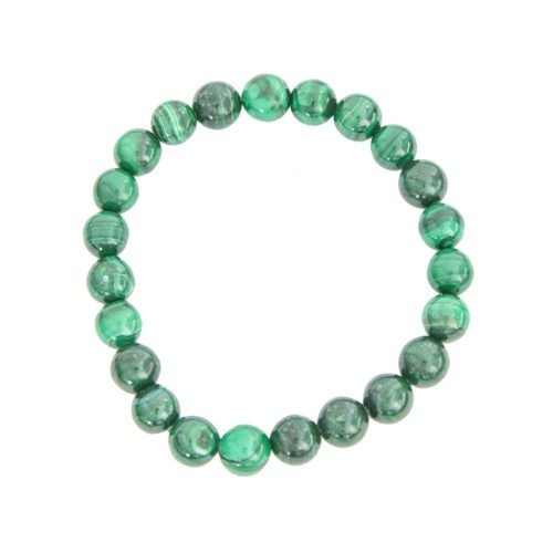 bracelet malachite pierres boules 8mm