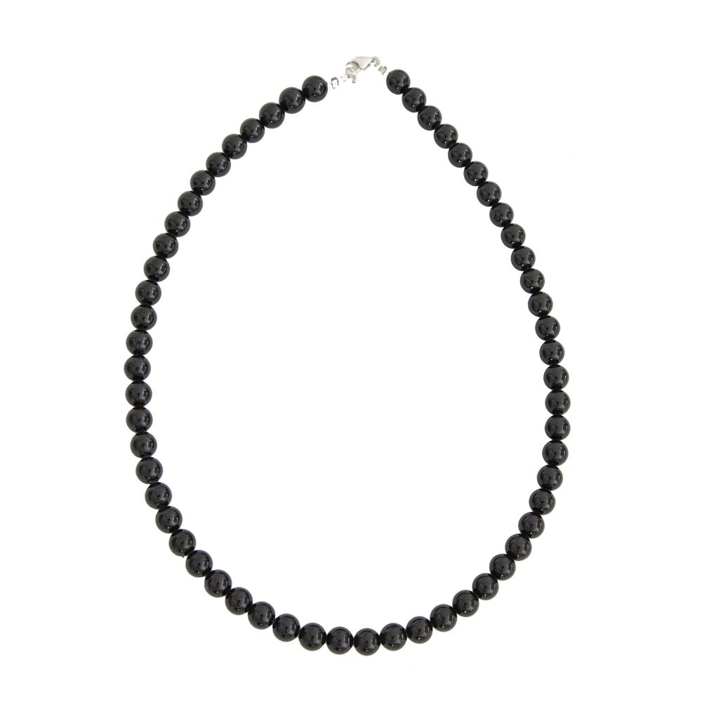 collier agate noire pierres boules 8mm