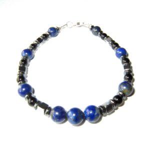 Bracelet-Lapis-lazuli-Hématite-et-Agate Noire-1