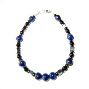 Bracelet-Lapis-lazuli-Hématite-et-Agate Noire-2
