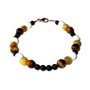 Bracelet-Oeil-de-tigre-doré-Bénitier-Agate-noire-1