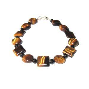 Bracelet-Oeil-de-tigre-plat-rond-carré-et-Agate-noire-1
