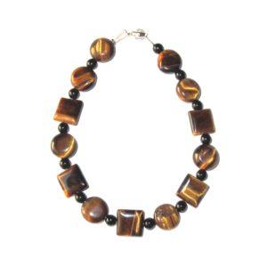 Bracelet-Oeil-de-tigre-plat-rond-carré-et-Agate-noire-2