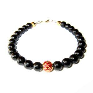 Bracelet-Tourmaline-noire-et-Perle-royale-rouge-1