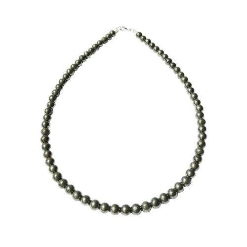 collier pyrite de fer pierres boules 6mm