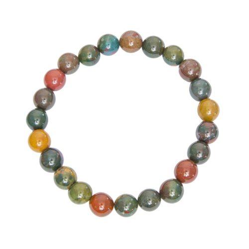 bracelet jaspe héliotrope pierres boules 8mm