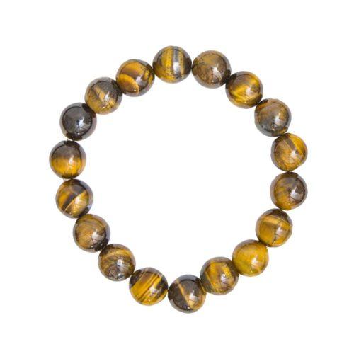 bracelet oeil de tigre pierres boules 10mm