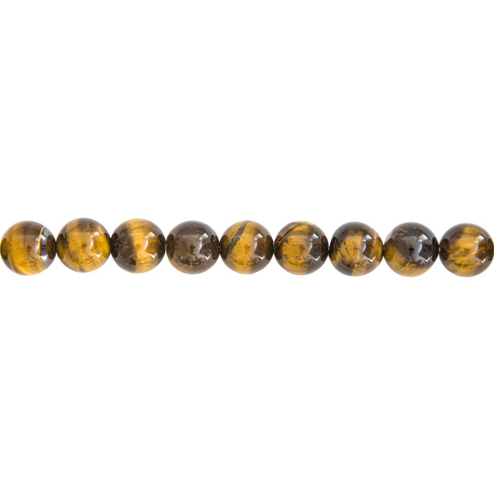 fil oeil de tigre pierres boules 10mm