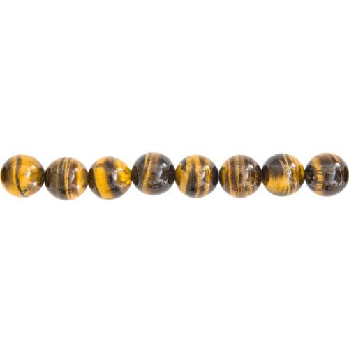 fil oeil de tigre pierres boules 12mm