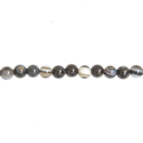 fil agate noire zonée pierres boules 6mm