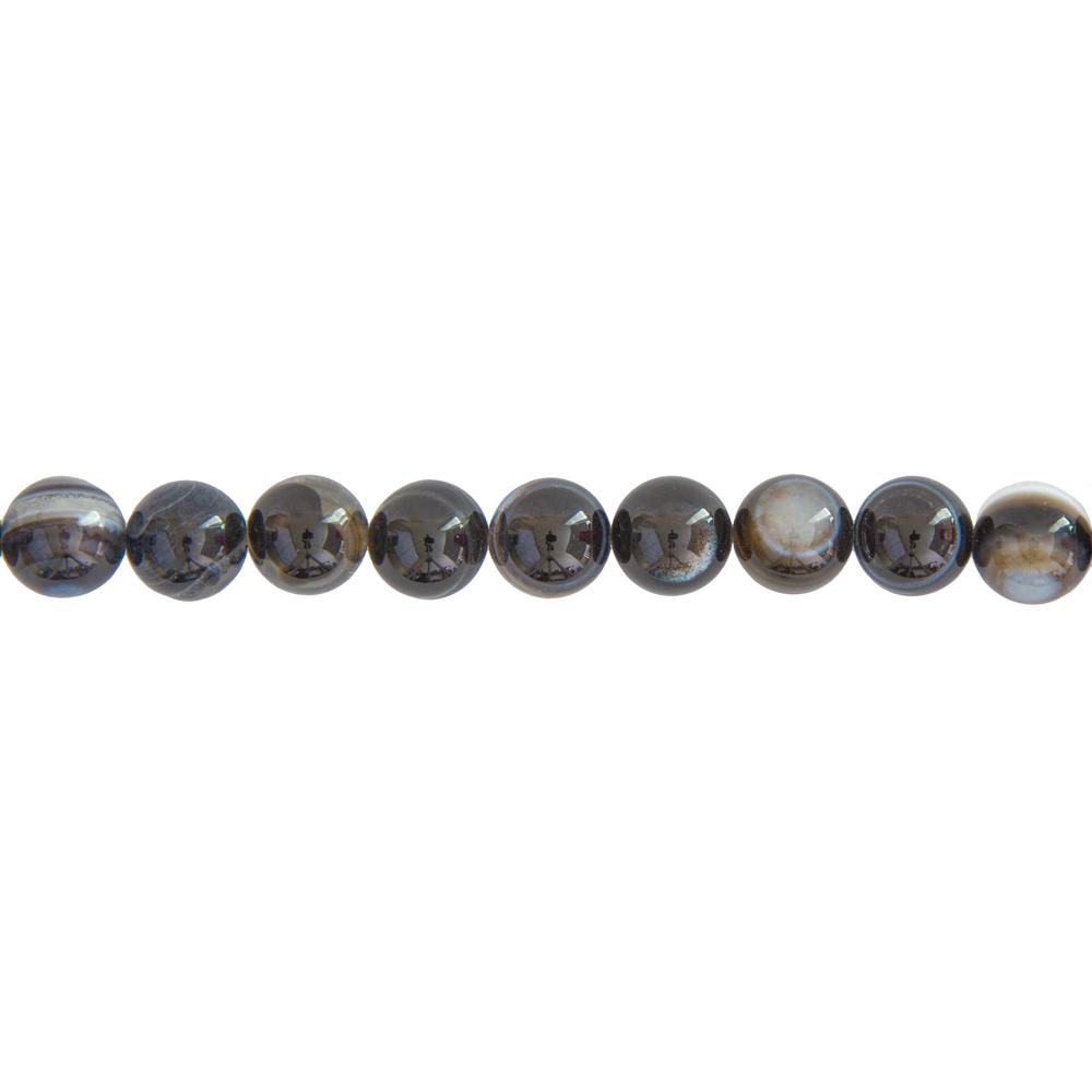 fil agate zonée noire pierres boules 10mm
