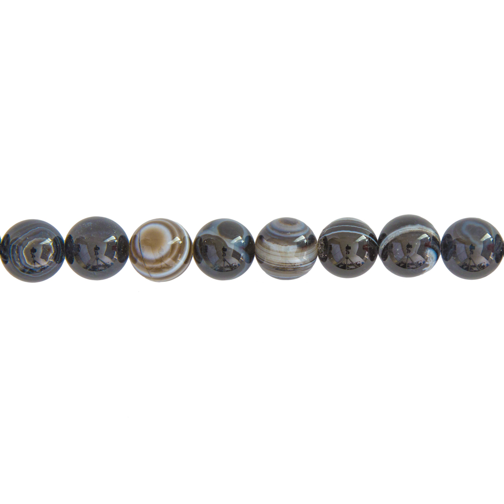 fil agate zonée noire pierres boules 12mm