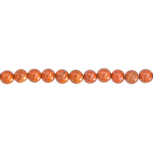 fil jaspe rouge pierres boules 6mm