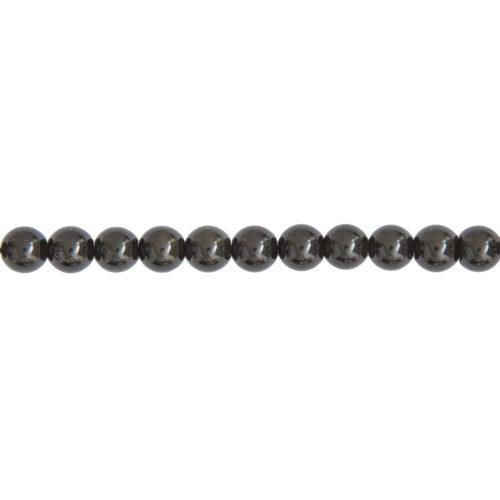 fil obsidienne noire pierres boules 6mm