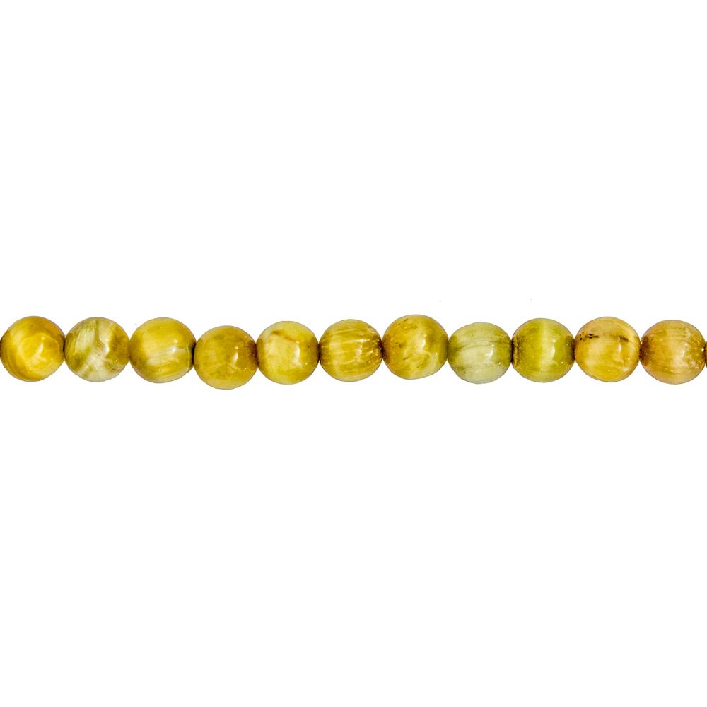 fil oeil de tigre doré pierres boules 6mm