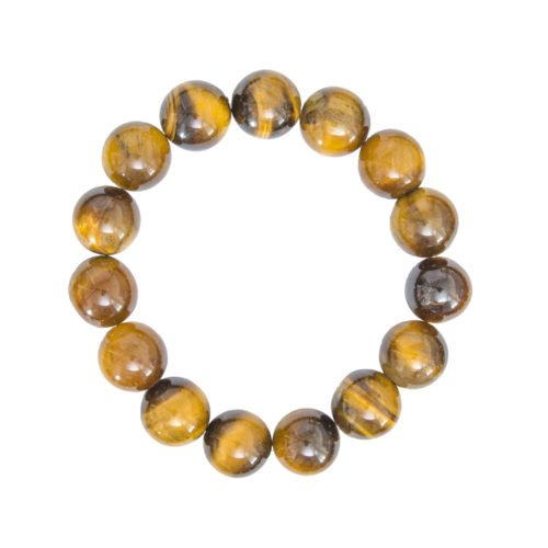 bracelet oeil de tigre pierres boules 12mm