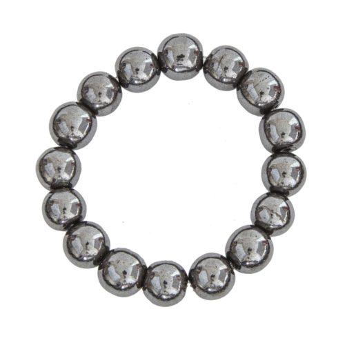 bracelet hématite pierres boules 12mm