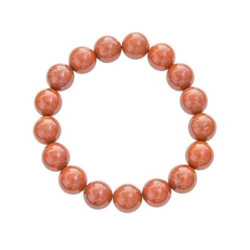 bracelet jaspe rouge pierres boules 10mm
