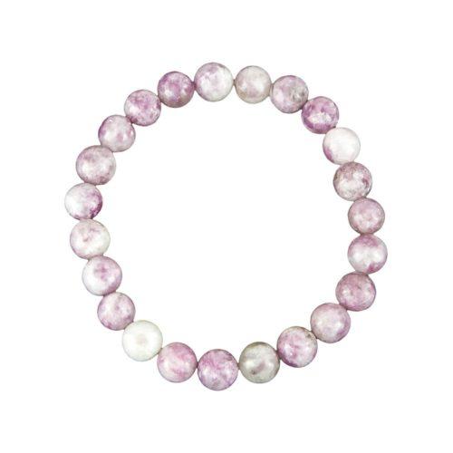 bracelet tourmaline rose pierres boules 8mm