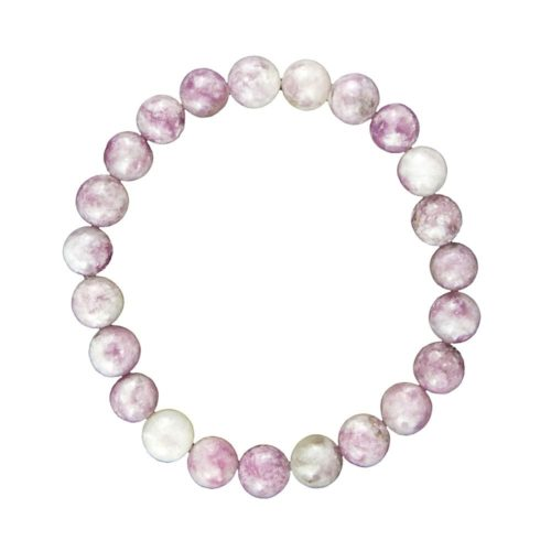 bracelet tourmaline rose pierres boules 8mm